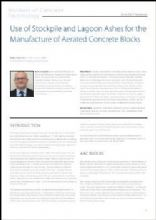 Use of Stockpile and Lagoon Ashes for the Manufacture of Aerated Concrete Blocks